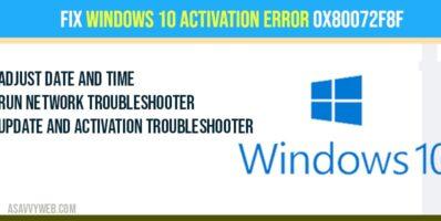 Fix Windows 10 Activation Error 0x80072F8F