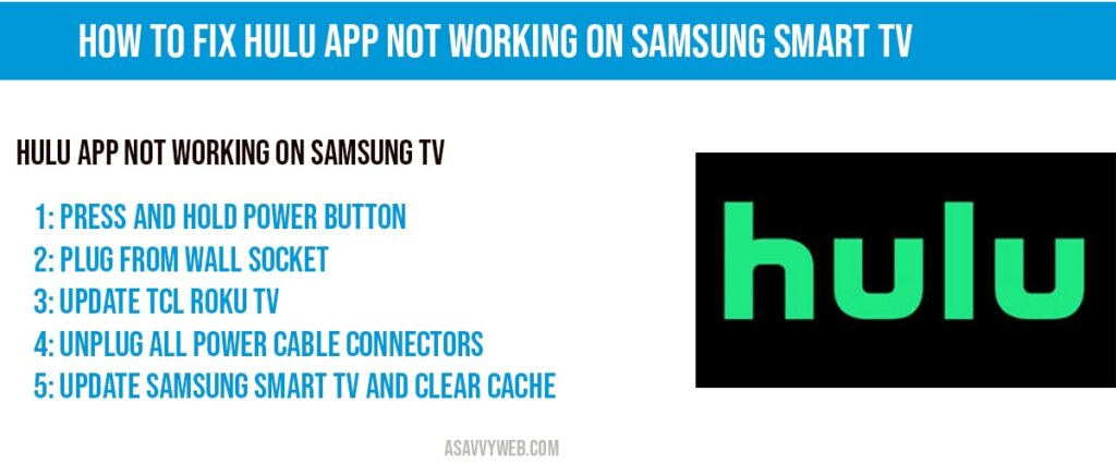 HULU App Not Working on Samsung Smart TV