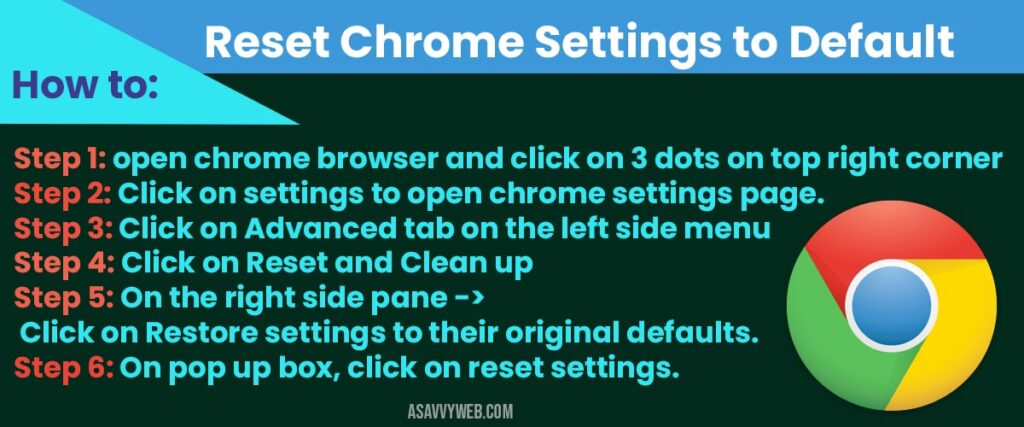 how to Reset chrome settings to default