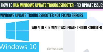 How to run windows update Troubleshooter & Fix update errors