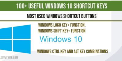 Useful Windows 10 shortcut keys