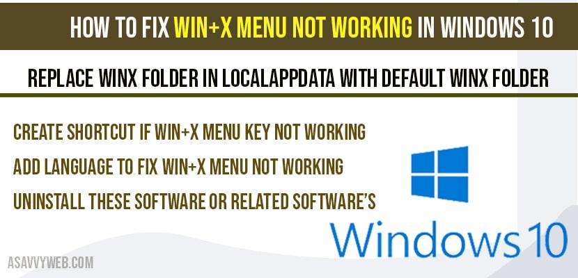 Win+X menu not working in Windows 10