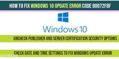 Windows 10 update error code 80072f8f