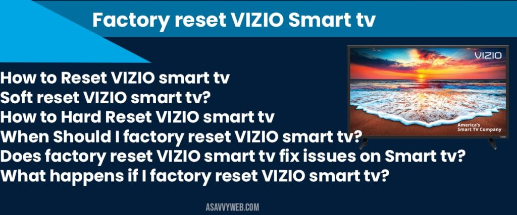 factory reset vizio smart tv