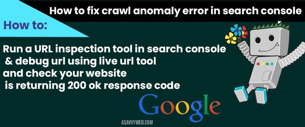 fix crawl anomaly error in search console