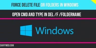 Force delete a folder in windows 10