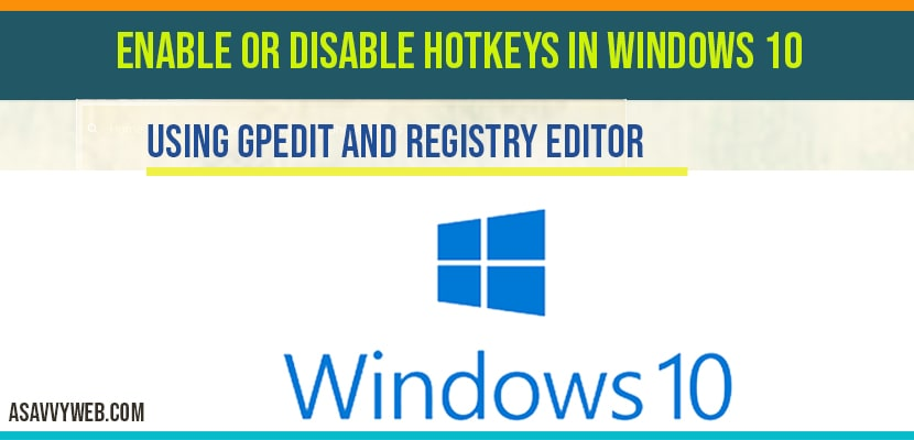 how to enable or disable hotkeys