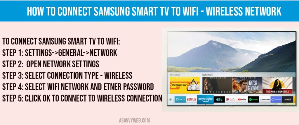 How to Connect Samsung Smart tv to WIFI - wireless connection