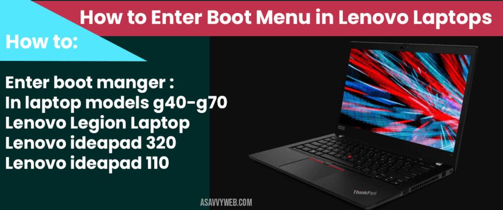 How to Enter Boot Menu on Lenovo Laptop