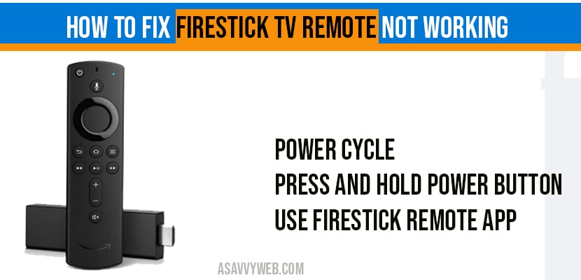 How to fix Firestick tv remote not-working