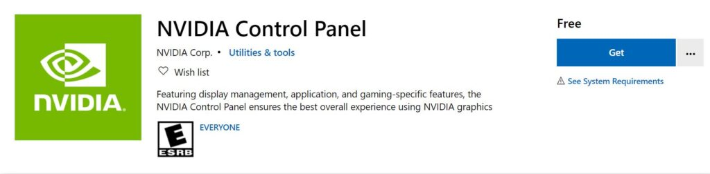 Install NVIDIA Contol Panel from Microsoft Store