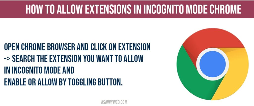 How to allow Open chrome browser and click on extension -> Search the extension you want to allow in incognito mode and enable or allow by toggling button.