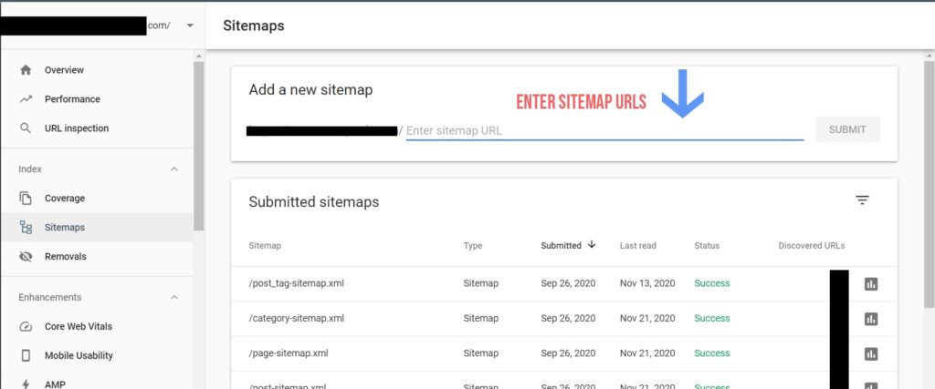 enter sitemap url in search console and click on submit