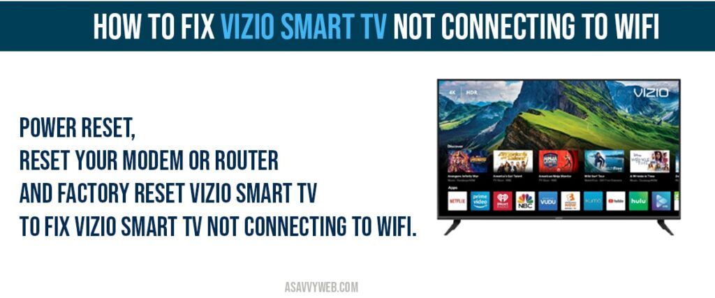 how to Fix vizio smart tv not connecting to wifi