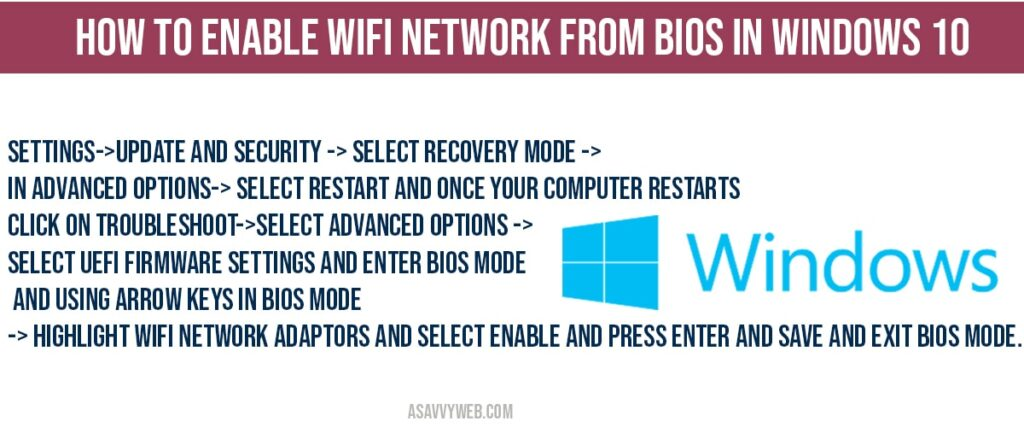How to Enable WIFI network in bios in windows 10