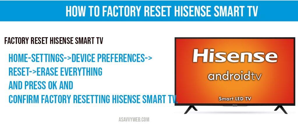 how to factory reset hisense smart tv