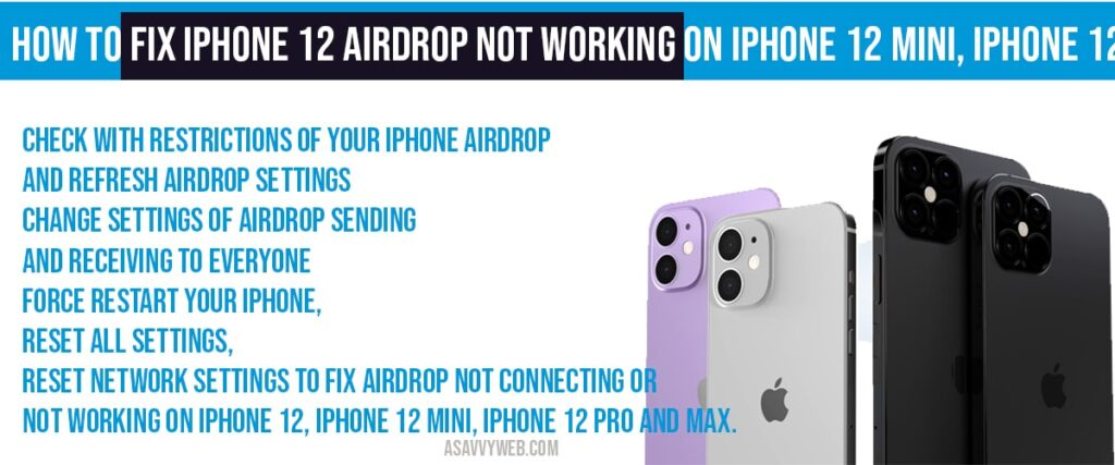 fix iPhone 12 airdrop not working on iPhone 12 mini, iPhone 12 pro, 12 Pro Max