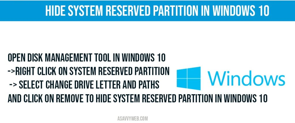 how to hide system reserved partition in windows 10