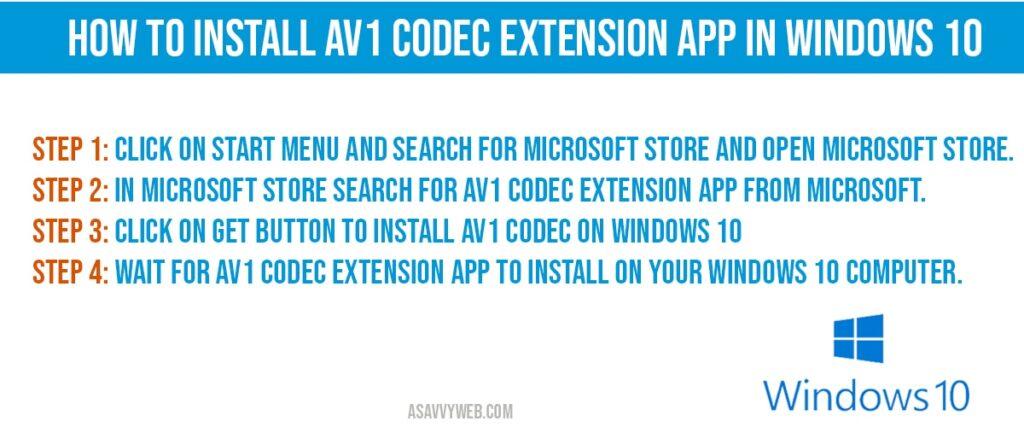 how to install Install av1 codec in windows 10