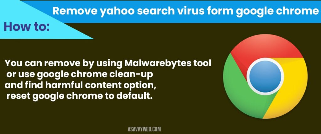 how to Remove Yahoo Search Virus form Google Chrome