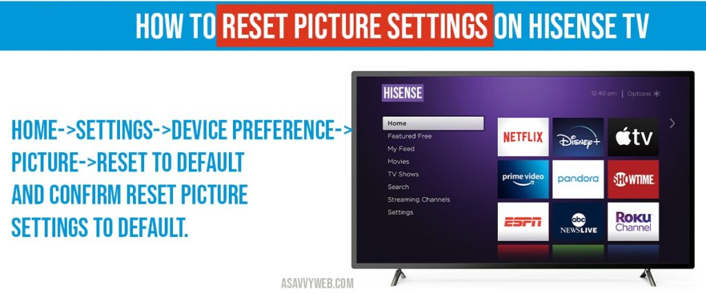 how to reset picture settings on hisense tv