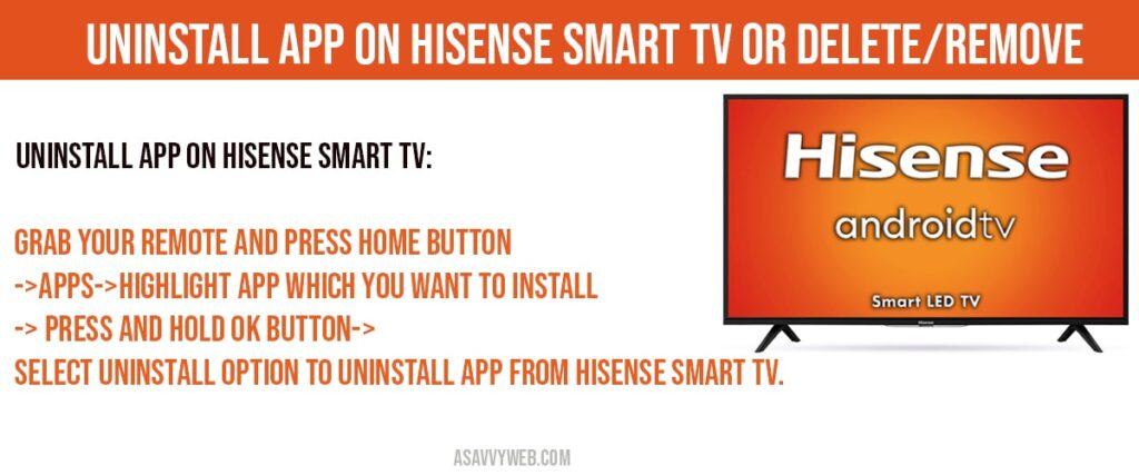 How to Uninstall app from hisense smart tv