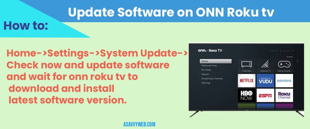 how to Update Software on ONN Roku tv