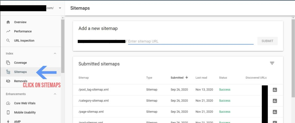 Submit sitemap to google - click on sitemap