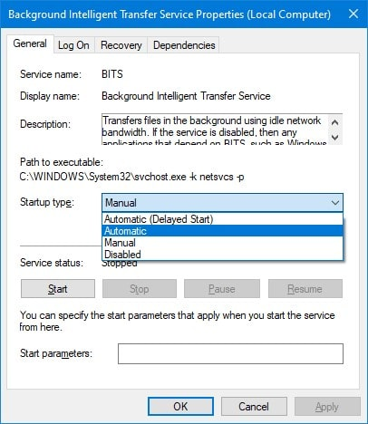 Restart Background intelligent transfer service