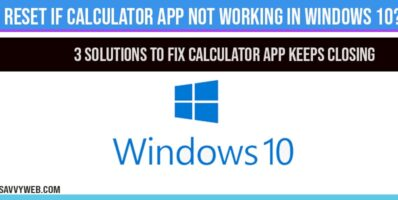Calculator app not working in windows 10