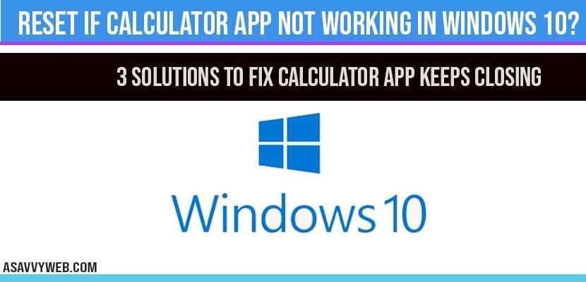 Calculator app not working in windows 10