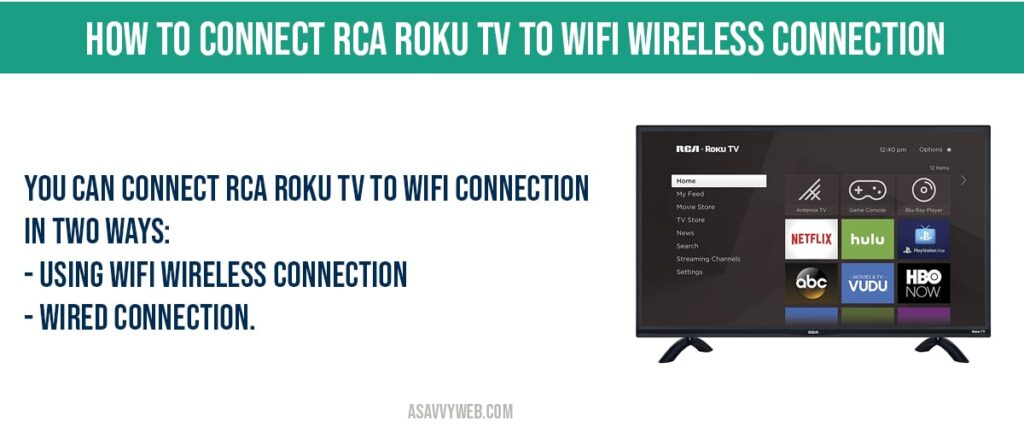 how to connect rca roku tv to wifi wireless