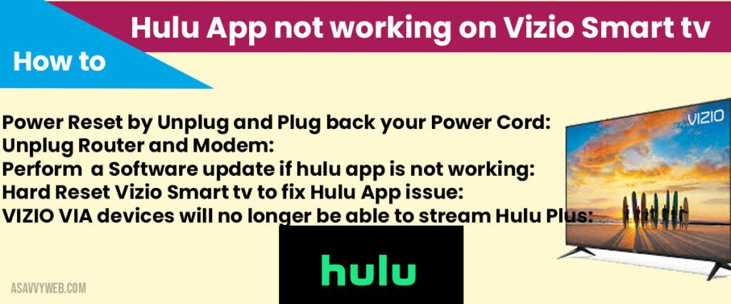 Hulu app not working on vizio smart tv