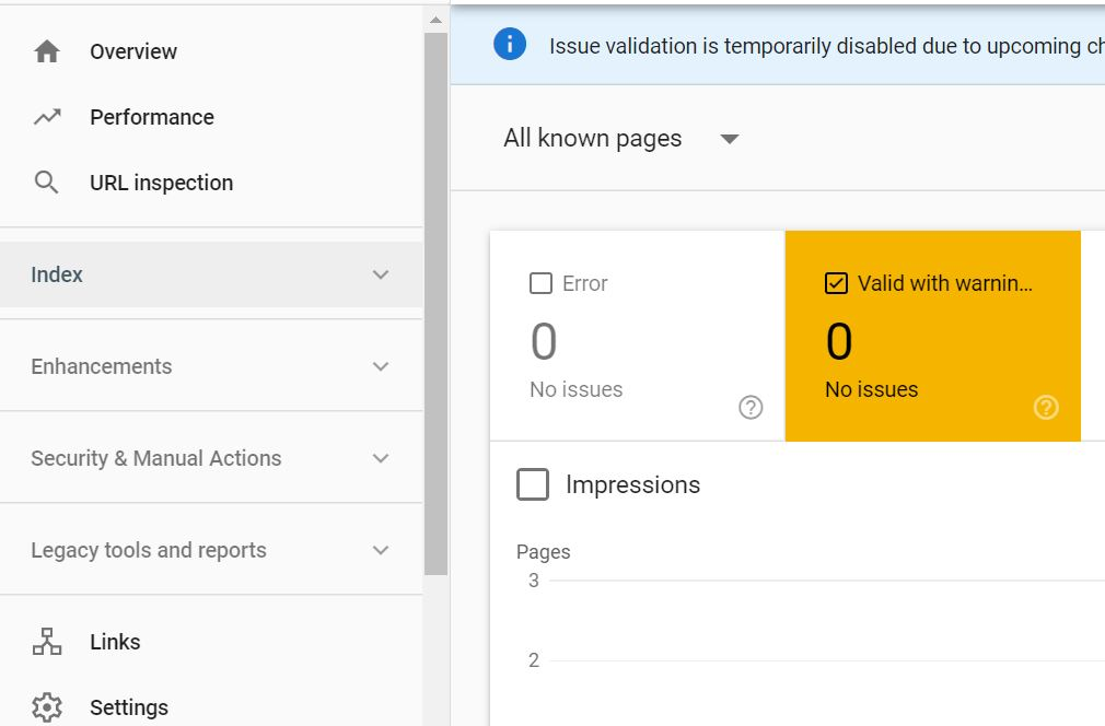 Click on Index coverage to access indexed with No content error in search console