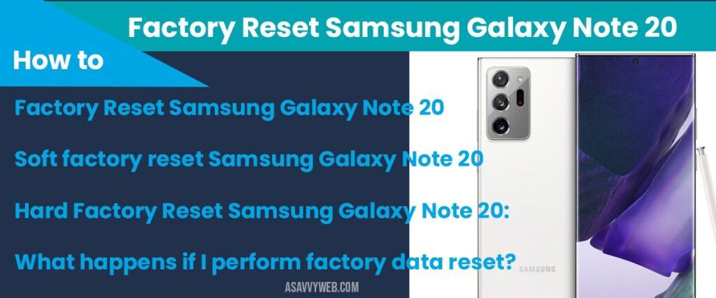 factory reset samsung galaxy note 20