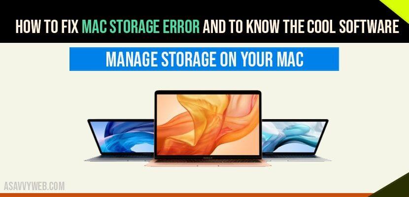 Mac Storage Error