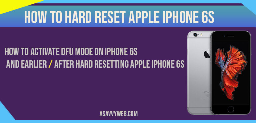 How to Hard reset apple iphone 6s