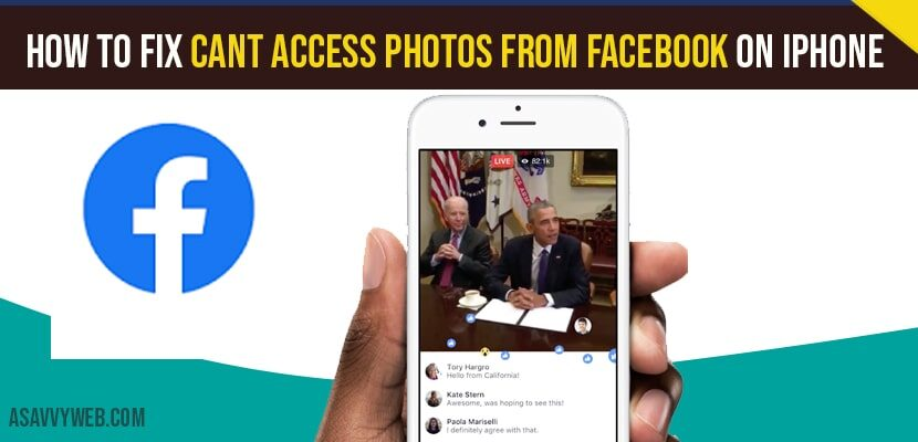 Can't access Photos from facebook on iPhone
