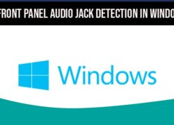 Disable Front Panel Audio Jack Detection