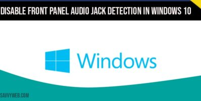 Disable Front Panel Audio Jack Detection