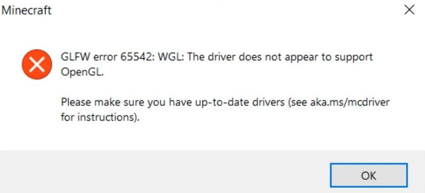 minecraft glfw error 6552 open gl driver error