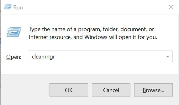 type in cleanmgr and clean up disk