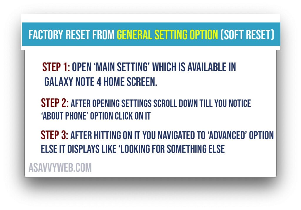 how to factory reset Galaxy note 4 Factory Reset - soft reset
