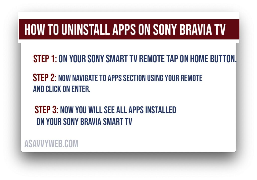 how to uninstall apps on sony smart tv