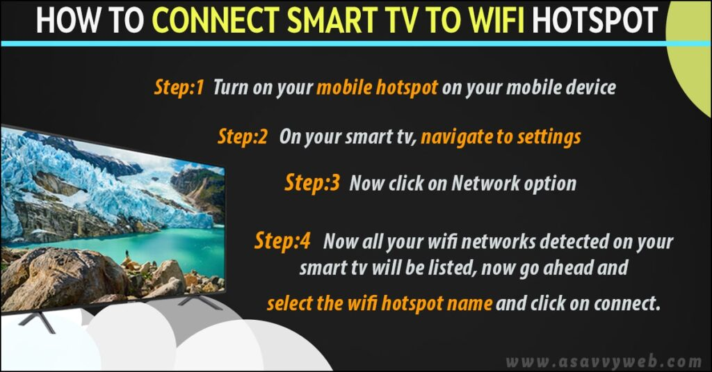 how to connect smart tv to wifi using mobile hotspot