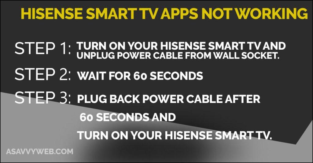 hisense smart tv apps not working