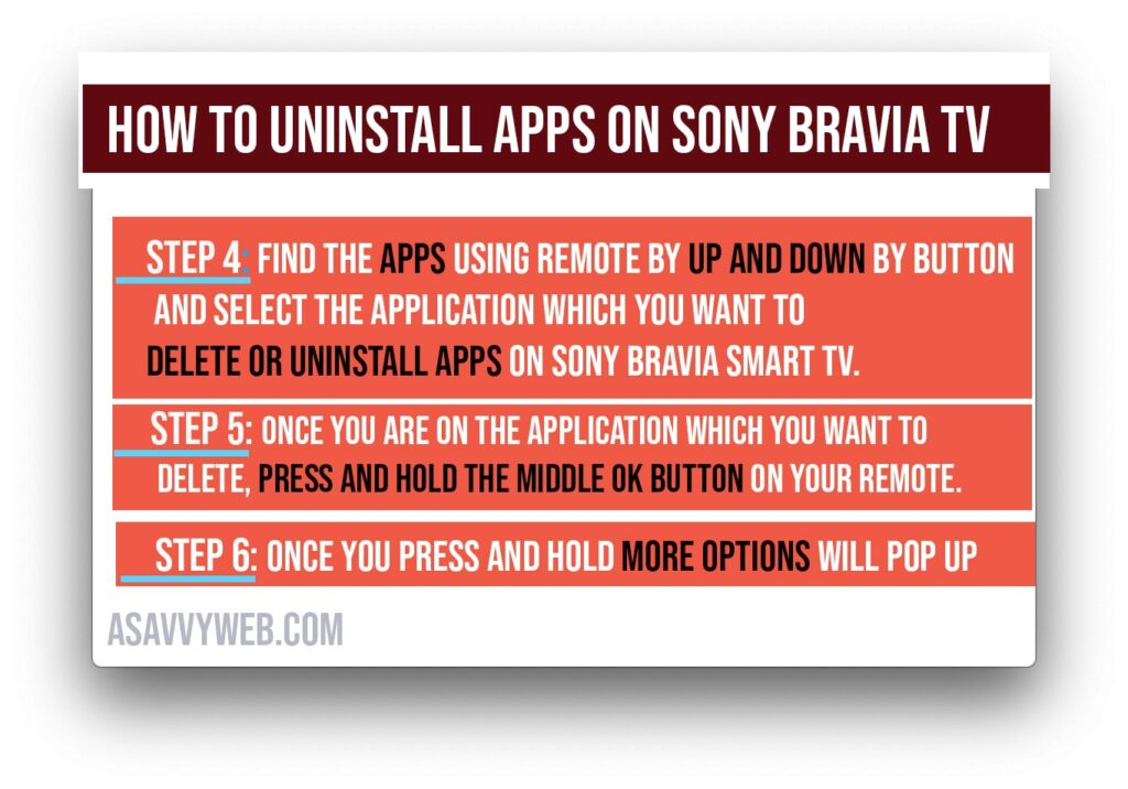 uninstall apps or remove apps on sony bravia smart tv