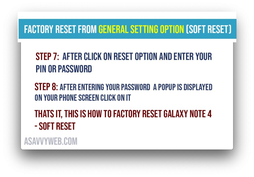 soft reset factory reset galaxy note 4
