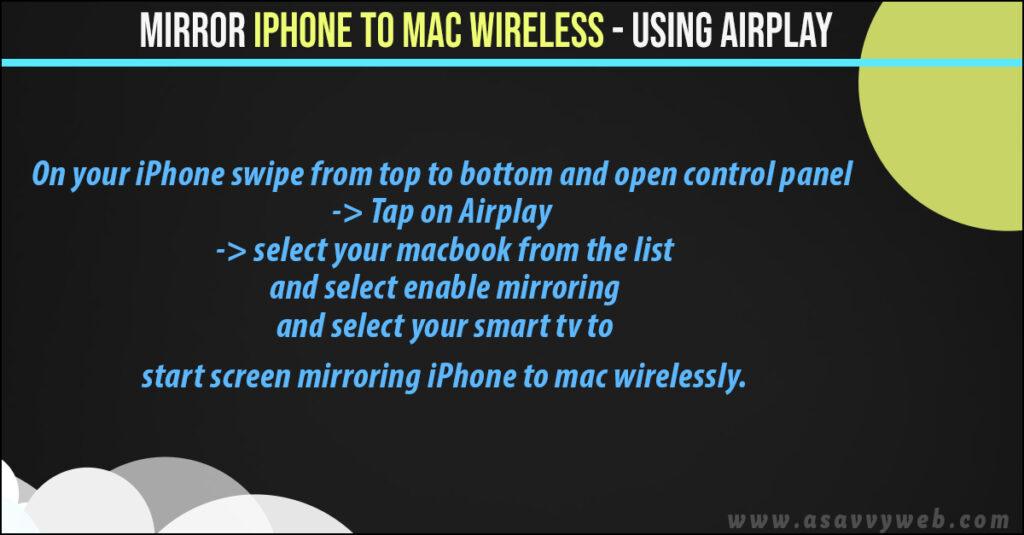 mirror iphone to mac wirelessly
