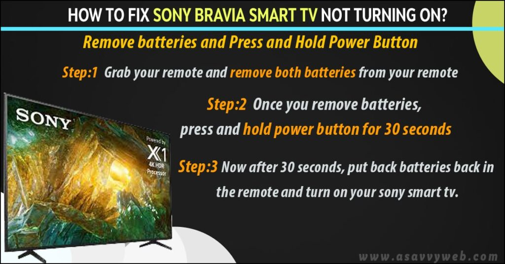 remove batteries and press and hold power button to fix sony bravia not turning on